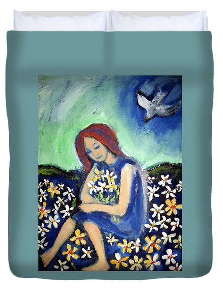 Duvet Cover featuring the painting At Peace by Winsome Gunning