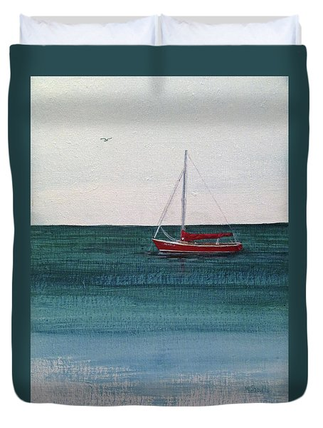 Duvet Cover featuring the painting At Rest by Wendy Shoults