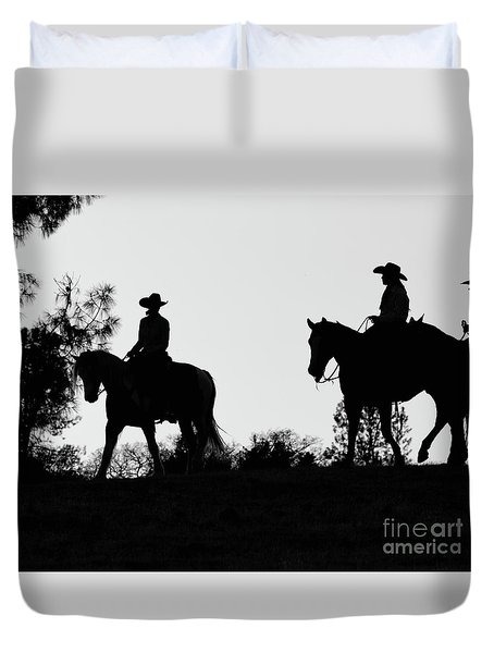 At Sunset On The Ranch Duvet Cover