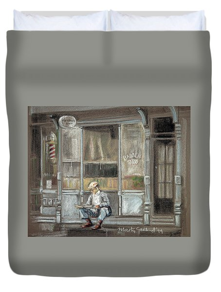 At The Barber Shop Duvet Cover