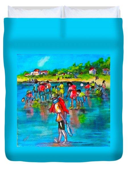 At The Beach Duvet Cover by Barbara O'Toole