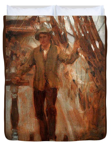 Duvet Cover featuring the painting At The Break Of The Poop  by Henry Scott Tuke