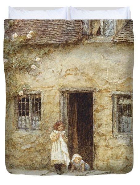 At The Cottage Door Duvet Cover by Helen Allingham