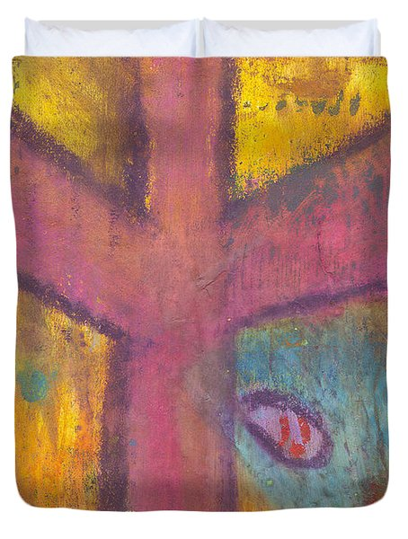 Duvet Cover featuring the mixed media At The Cross by Angela L Walker