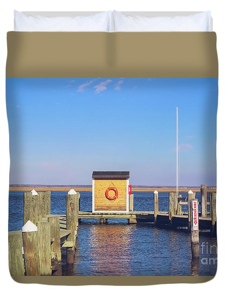 Duvet Cover featuring the photograph At The Dock by Colleen Kammerer