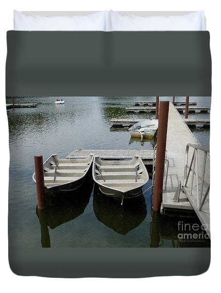 Duvet Cover featuring the photograph At The Dock by Kathie Chicoine