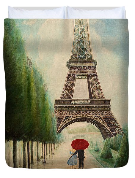 At The Eiffel Tower Duvet Cover