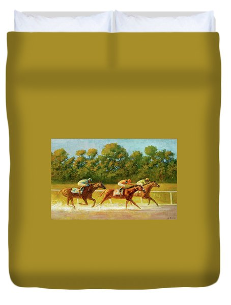 At The Finish Line Duvet Cover