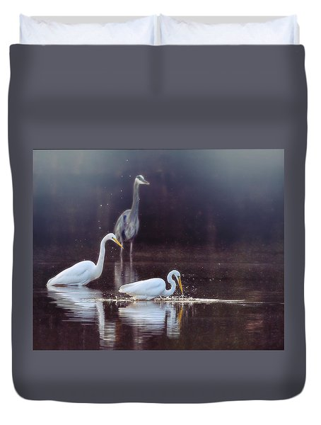 Duvet Cover featuring the photograph At The Fishing Pond by Susi Stroud