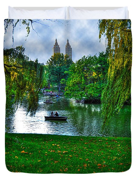 At The Lake In Central Park Duvet Cover by Randy Aveille