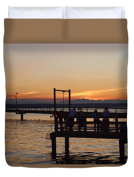 At The Marina Des Moines Washington Duvet Cover by Cathy Anderson