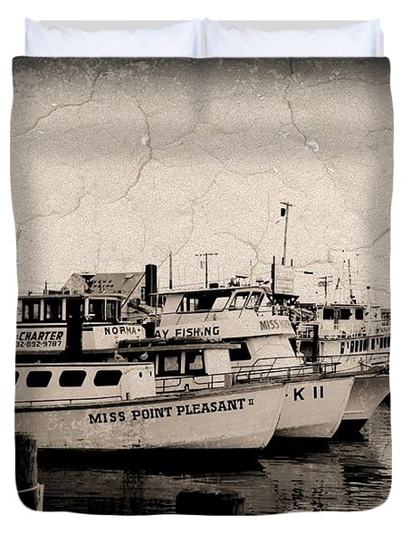At The Marina - Jersey Shore Duvet Cover