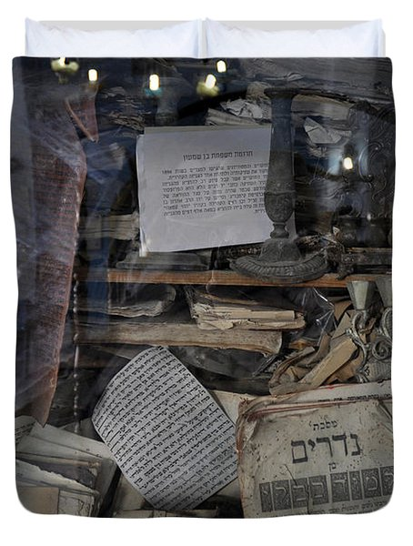 Duvet Cover featuring the photograph At The Old Tample Of Safed  by Dubi Roman