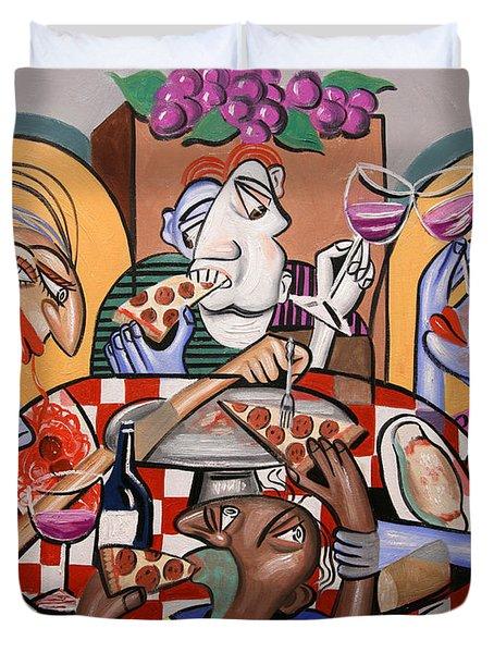 At The Pizzeria Duvet Cover