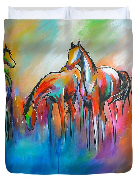 Duvet Cover featuring the painting At The Pond by Cher Devereaux