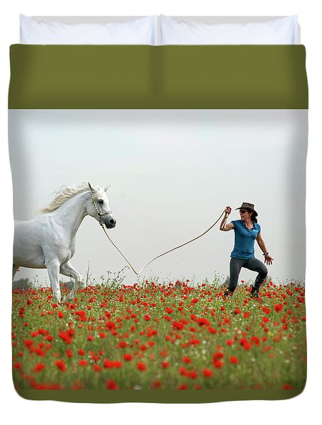 At The Poppies' Field... 2 Duvet Cover