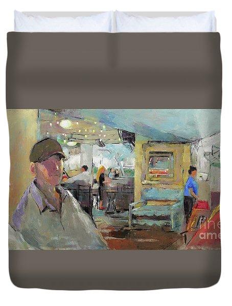 At The Restaurant Duvet Cover