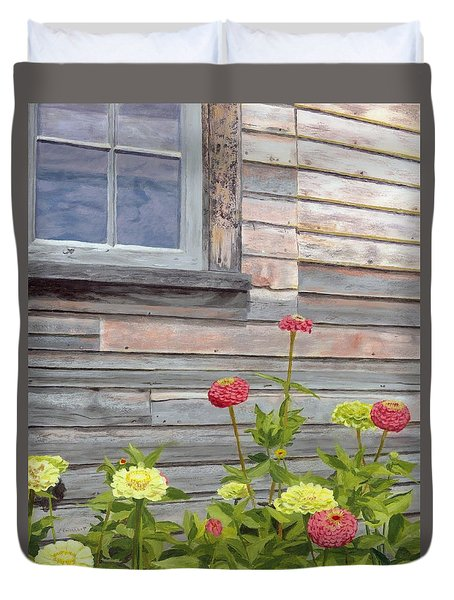 Duvet Cover featuring the painting At The Shelburne by Lynne Reichhart