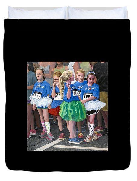 At The Start Of Their Run Duvet Cover by Mark Lunde