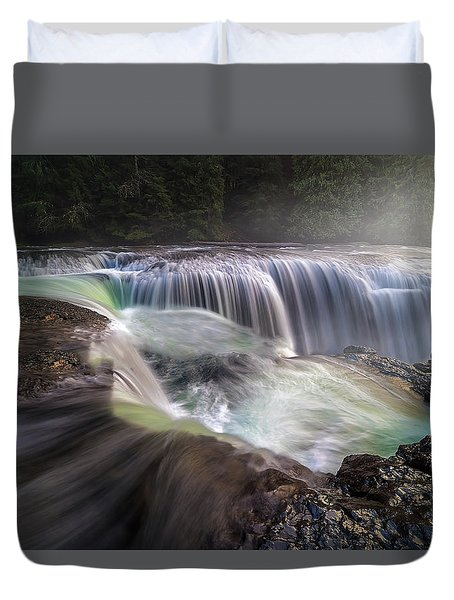 At The Top Of Lower Lewis River Falls Duvet Cover by David Gn