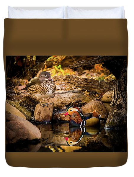 At The Waters Edge - Mandarin Ducks Duvet Cover