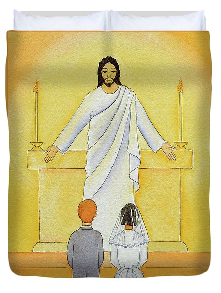At Their First Holy Communion Children Meet Jesus In The Holy Eucharist Duvet Cover