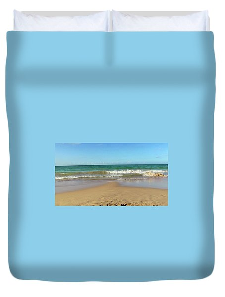 Atardecer Playa El Ultimo Trolly Tranvia Duvet Cover