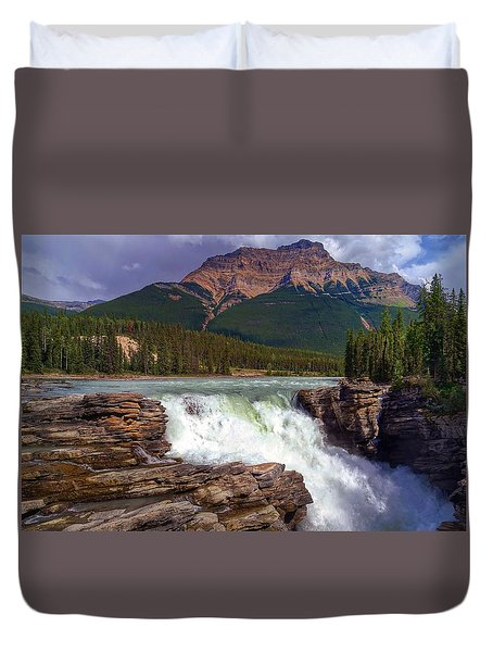 Athabasca Falls Duvet Cover by Heather Vopni