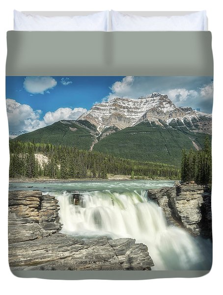 Duvet Cover featuring the photograph Athabasca Falls by Russell Pugh