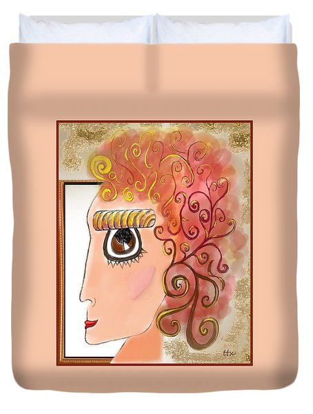 Athena In The Mirror Duvet Cover