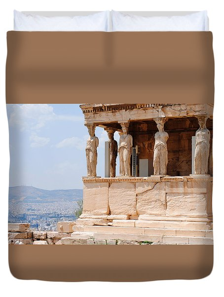 Duvet Cover featuring the photograph Erecthion by Robert Moss