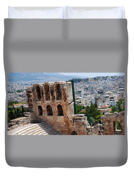 Duvet Cover featuring the photograph Athens From Acropolis II by Robert Moss