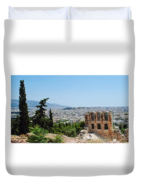 Duvet Cover featuring the photograph Athens From Acropolis by Robert Moss