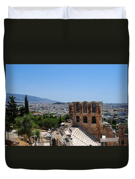 Duvet Cover featuring the photograph Athens by Robert Moss