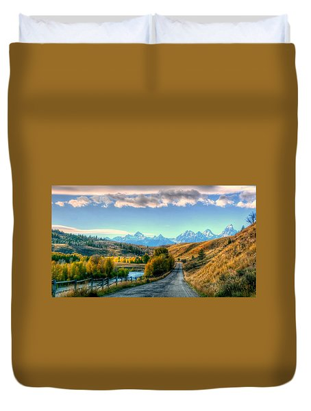 Atherton View Of Tetons Duvet Cover