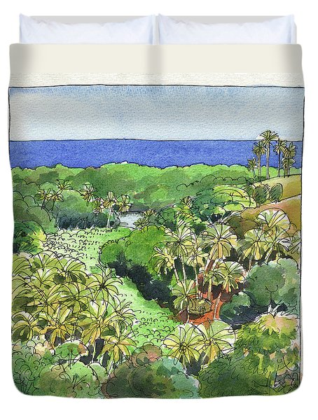 Duvet Cover featuring the painting Atiu Lake View by Judith Kunzle