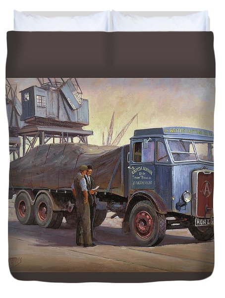 Atkinson At The Docks Duvet Cover by Mike  Jeffries