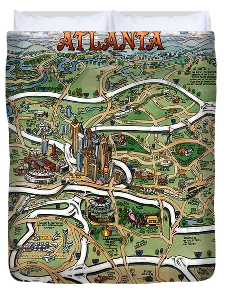 Duvet Cover featuring the painting Atlanta Cartoon Map by Kevin Middleton