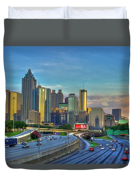 Atlanta Coca-cola Sunset Reflections Art Duvet Cover