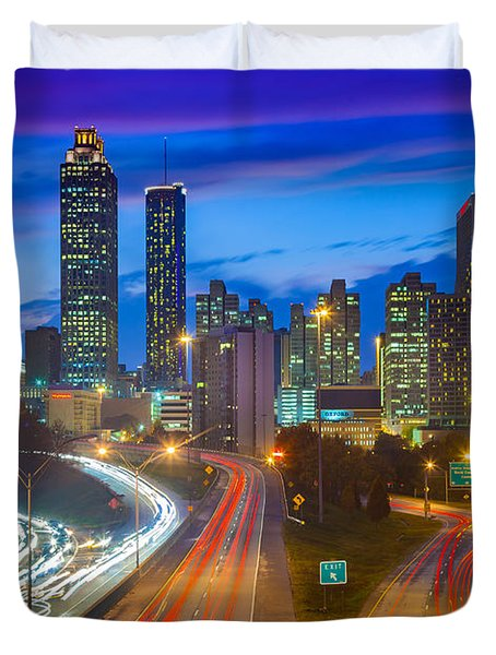 Atlanta Downtown By Night Duvet Cover