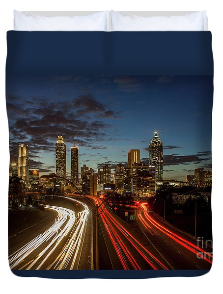 Duvet Cover featuring the photograph Atlanta Downtown Infusion Atlanta Sunset Cityscapes Art by Reid Callaway