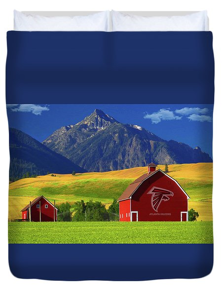 Duvet Cover featuring the photograph Atlanta Falcons Barn by Movie Poster Prints