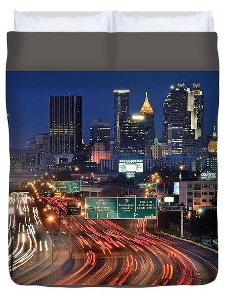 Atlanta Heavy Traffic Duvet Cover by Frozen in Time Fine Art Photography
