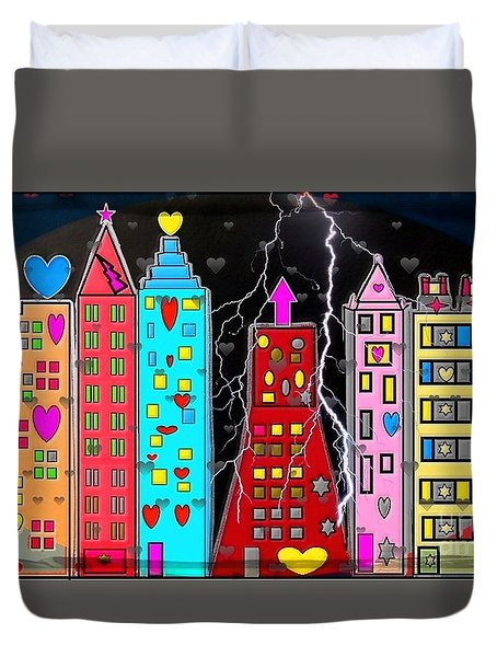 Atlanta Popart Skyline By Nico Bielow Duvet Cover by Nico Bielow
