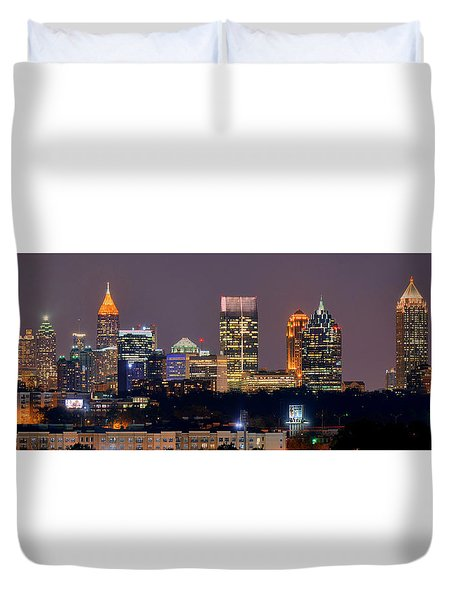 Atlanta Skyline At Night Downtown Midtown Color Panorama Duvet Cover