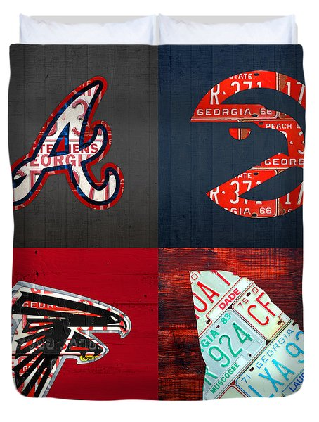 Atlanta Sports Fan Recycled Vintage Georgia License Plate Art Braves Hawks Falcons Plus State Map Duvet Cover