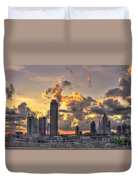Atlanta Sunrise On Atlantic Station Commons And Midtown Atlanta Duvet Cover by Reid Callaway