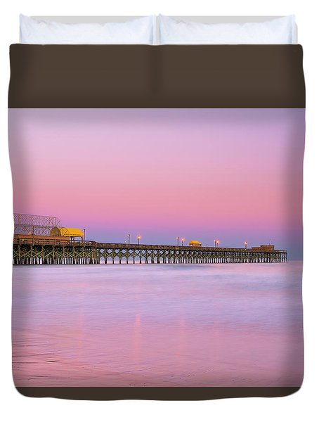 Duvet Cover featuring the photograph Atlantic Ocean And The Apache Pier At Sunset In South Carolina by Ranjay Mitra
