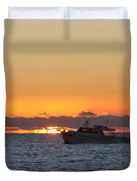 Atlantic Ocean Fishing At Sunrise Duvet Cover