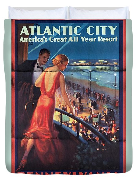 Atlantinc City - America's Great All Year Resort - Vintage Poster Folded Duvet Cover